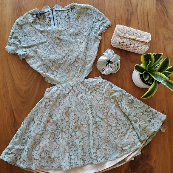 Bebe Cut-out Lace Mini Dress